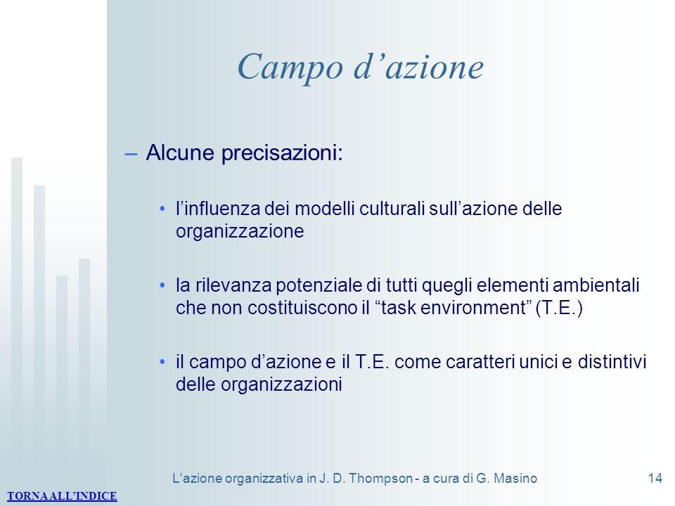 L'azione organizzativa in J. D. Thompson - a cura di G. Masino14 Campo dazione –Alcune precisazioni: linfluenza dei modelli culturali sullazione delle