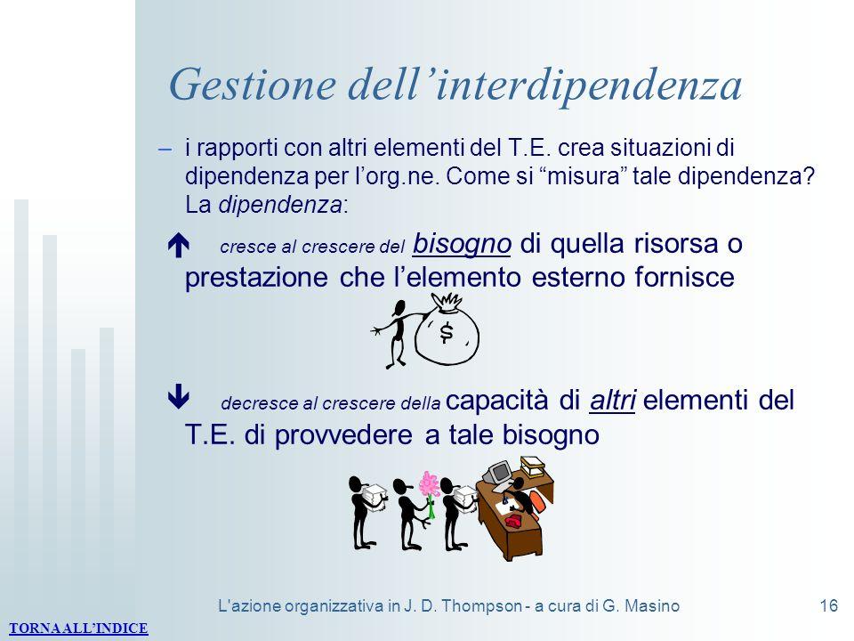 L'azione organizzativa in J. D. Thompson - a cura di G. Masino16 Gestione dellinterdipendenza –i rapporti con altri elementi del T.E. crea situazioni
