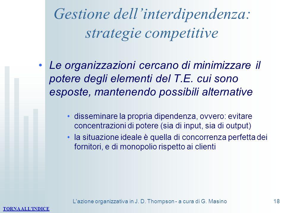 L'azione organizzativa in J. D. Thompson - a cura di G. Masino18 Gestione dellinterdipendenza: strategie competitive Le organizzazioni cercano di mini