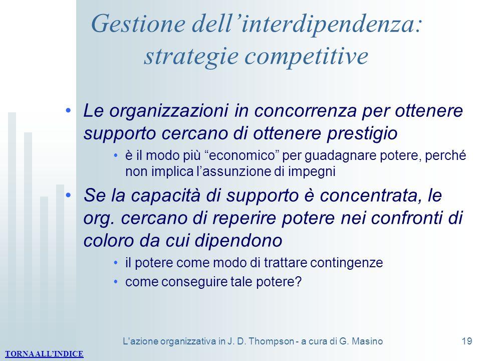 L'azione organizzativa in J. D. Thompson - a cura di G. Masino19 Gestione dellinterdipendenza: strategie competitive Le organizzazioni in concorrenza
