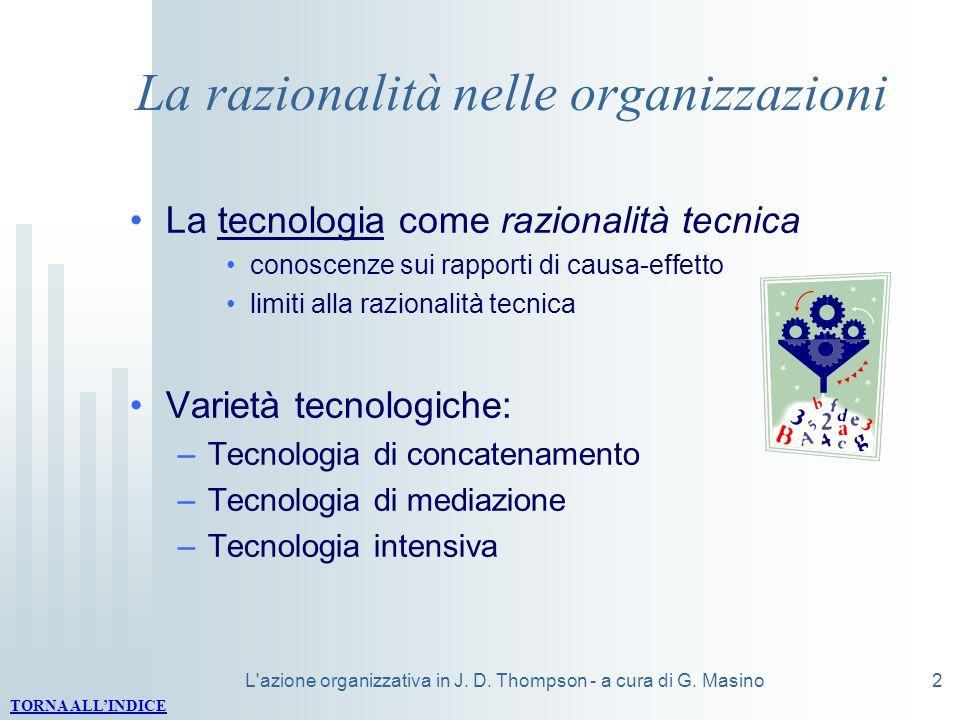 L'azione organizzativa in J. D. Thompson - a cura di G. Masino2 La razionalità nelle organizzazioni La tecnologia come razionalità tecnica conoscenze