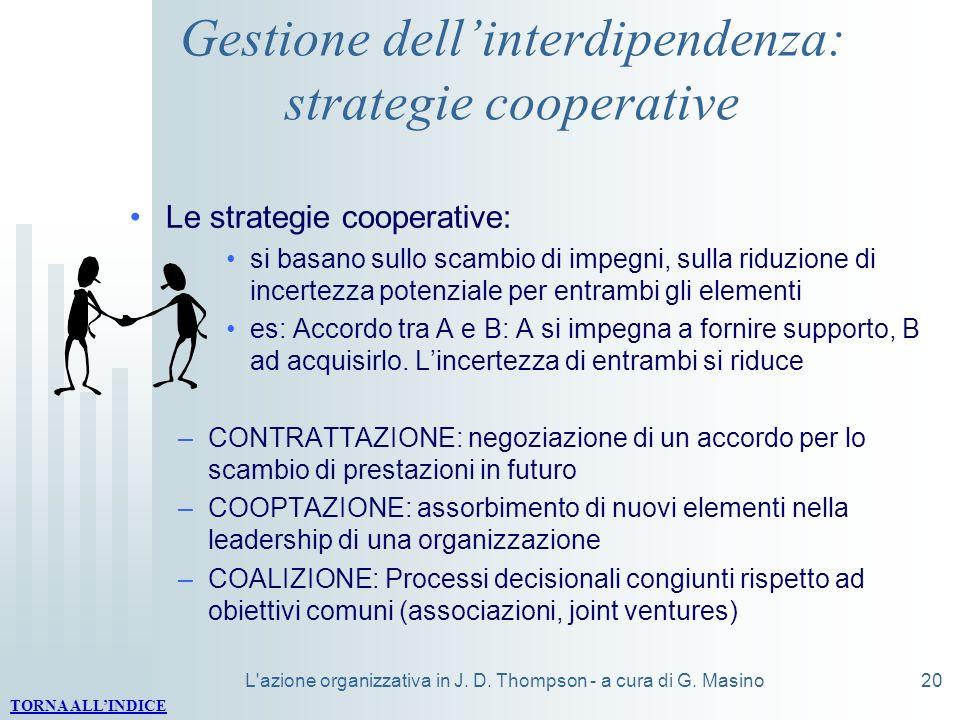L'azione organizzativa in J. D. Thompson - a cura di G. Masino20 Gestione dellinterdipendenza: strategie cooperative Le strategie cooperative: si basa
