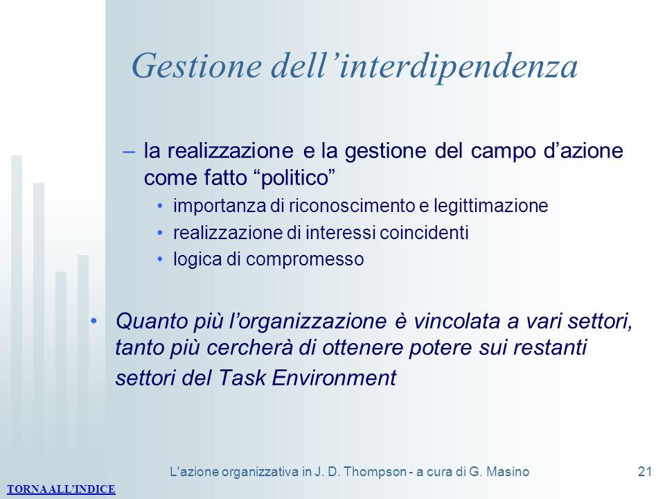 L'azione organizzativa in J. D. Thompson - a cura di G. Masino21 Gestione dellinterdipendenza –la realizzazione e la gestione del campo dazione come f