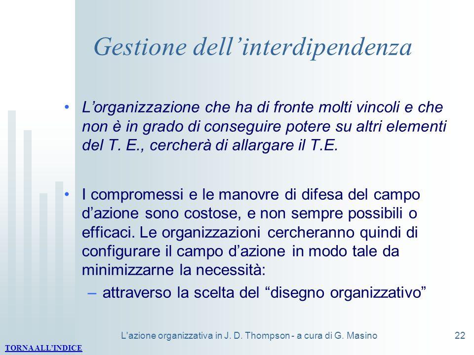 L'azione organizzativa in J. D. Thompson - a cura di G. Masino22 Gestione dellinterdipendenza Lorganizzazione che ha di fronte molti vincoli e che non