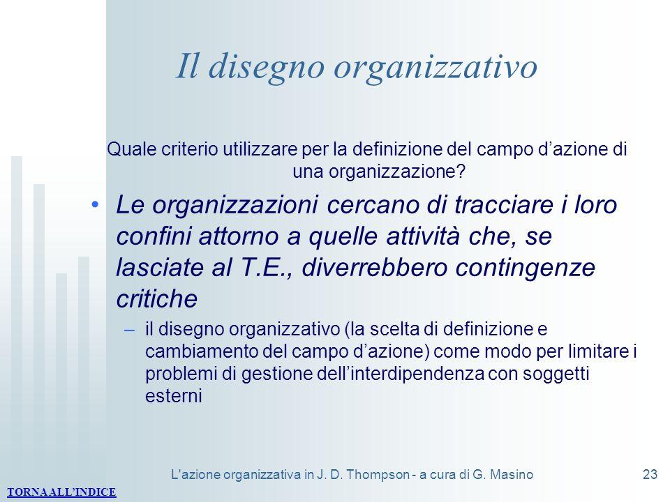 L'azione organizzativa in J. D. Thompson - a cura di G. Masino23 Il disegno organizzativo Quale criterio utilizzare per la definizione del campo dazio