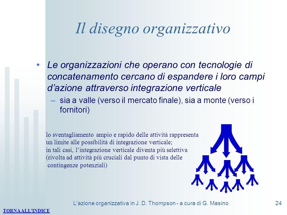 L'azione organizzativa in J. D. Thompson - a cura di G. Masino24 Il disegno organizzativo Le organizzazioni che operano con tecnologie di concatenamen