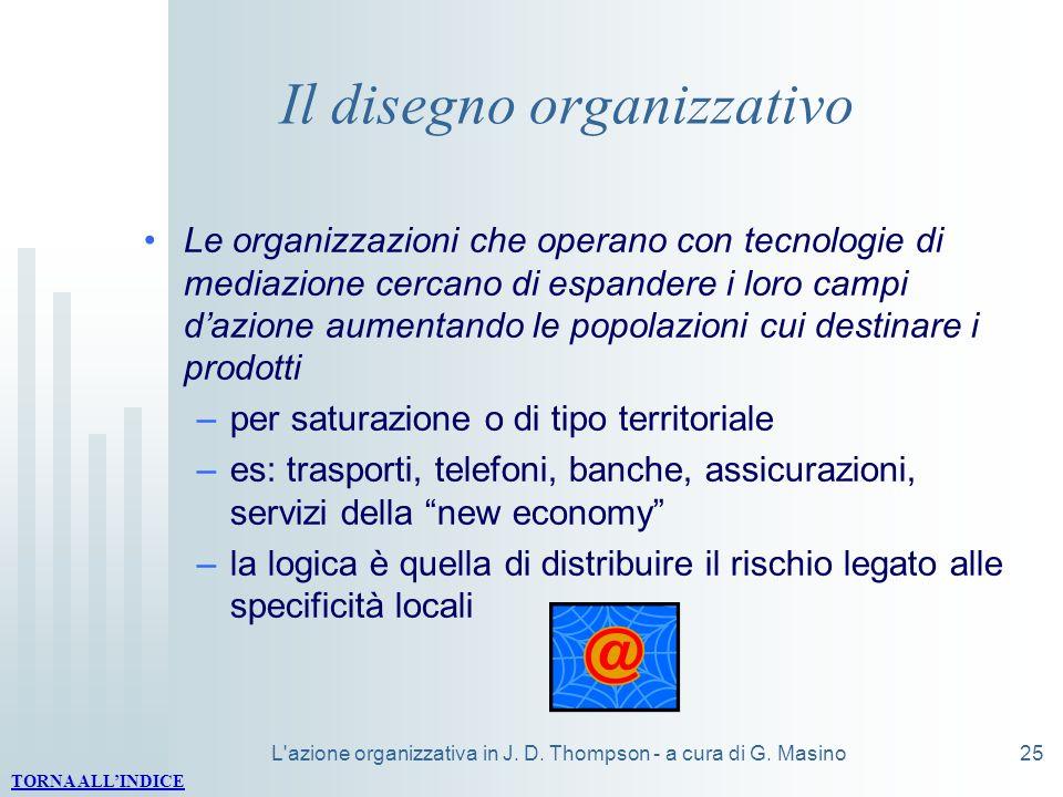 L'azione organizzativa in J. D. Thompson - a cura di G. Masino25 Il disegno organizzativo Le organizzazioni che operano con tecnologie di mediazione c
