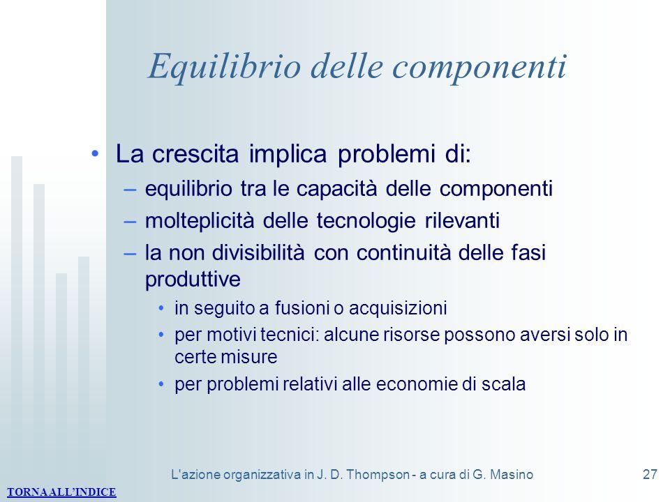 L'azione organizzativa in J. D. Thompson - a cura di G. Masino27 Equilibrio delle componenti La crescita implica problemi di: –equilibrio tra le capac