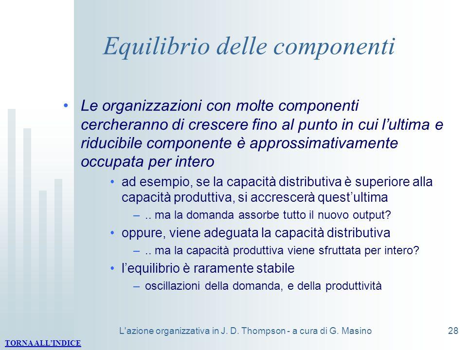 L'azione organizzativa in J. D. Thompson - a cura di G. Masino28 Equilibrio delle componenti Le organizzazioni con molte componenti cercheranno di cre