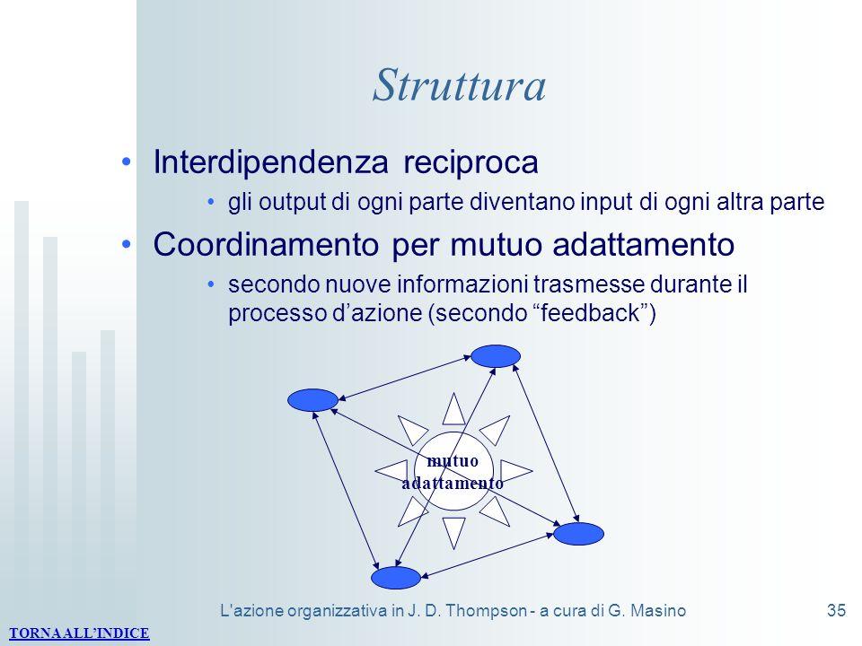 L'azione organizzativa in J. D. Thompson - a cura di G. Masino35 Struttura Interdipendenza reciproca gli output di ogni parte diventano input di ogni
