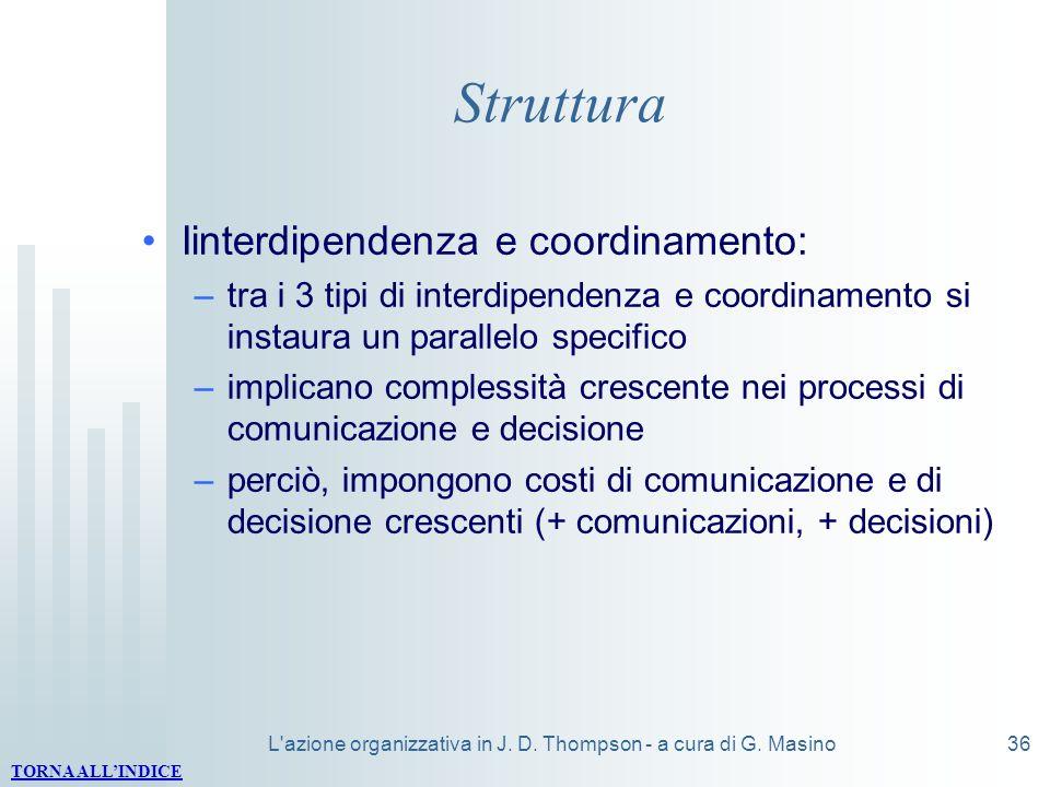 L'azione organizzativa in J. D. Thompson - a cura di G. Masino36 Struttura Iinterdipendenza e coordinamento: –tra i 3 tipi di interdipendenza e coordi
