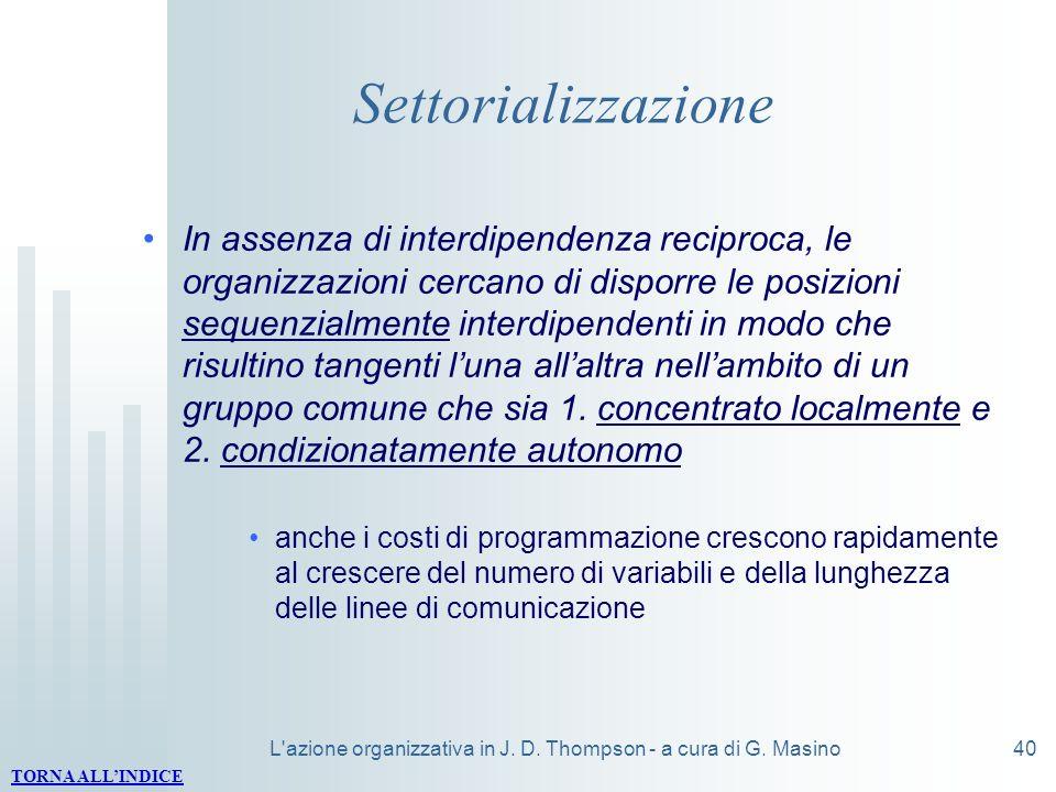 L'azione organizzativa in J. D. Thompson - a cura di G. Masino40 Settorializzazione In assenza di interdipendenza reciproca, le organizzazioni cercano