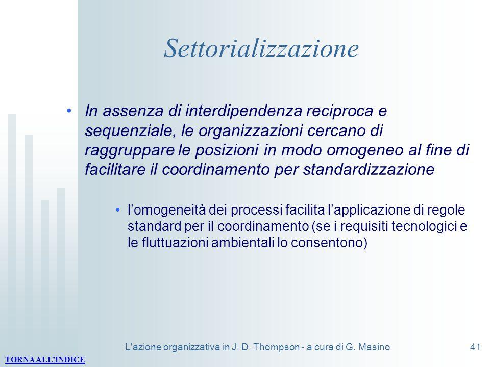 L'azione organizzativa in J. D. Thompson - a cura di G. Masino41 Settorializzazione In assenza di interdipendenza reciproca e sequenziale, le organizz