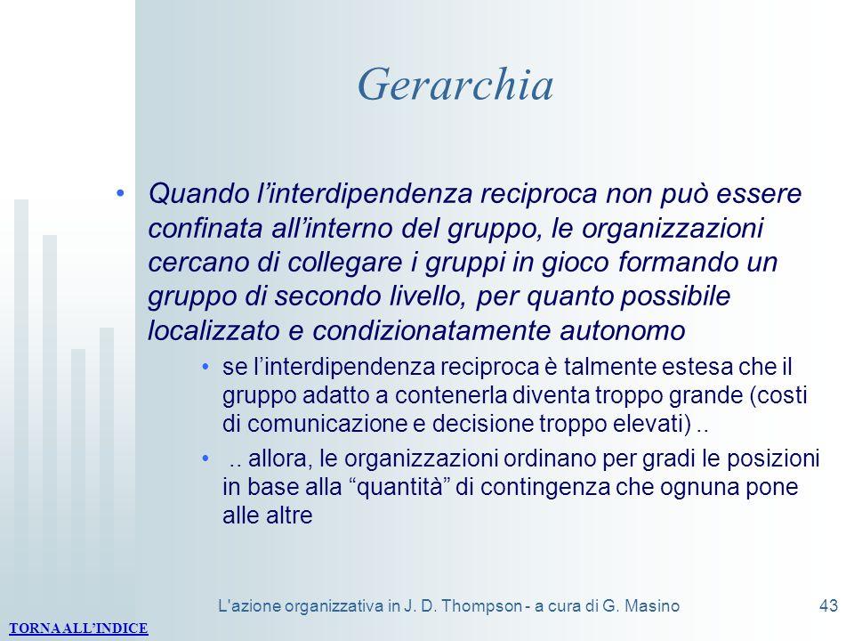 L'azione organizzativa in J. D. Thompson - a cura di G. Masino43 Gerarchia Quando linterdipendenza reciproca non può essere confinata allinterno del g