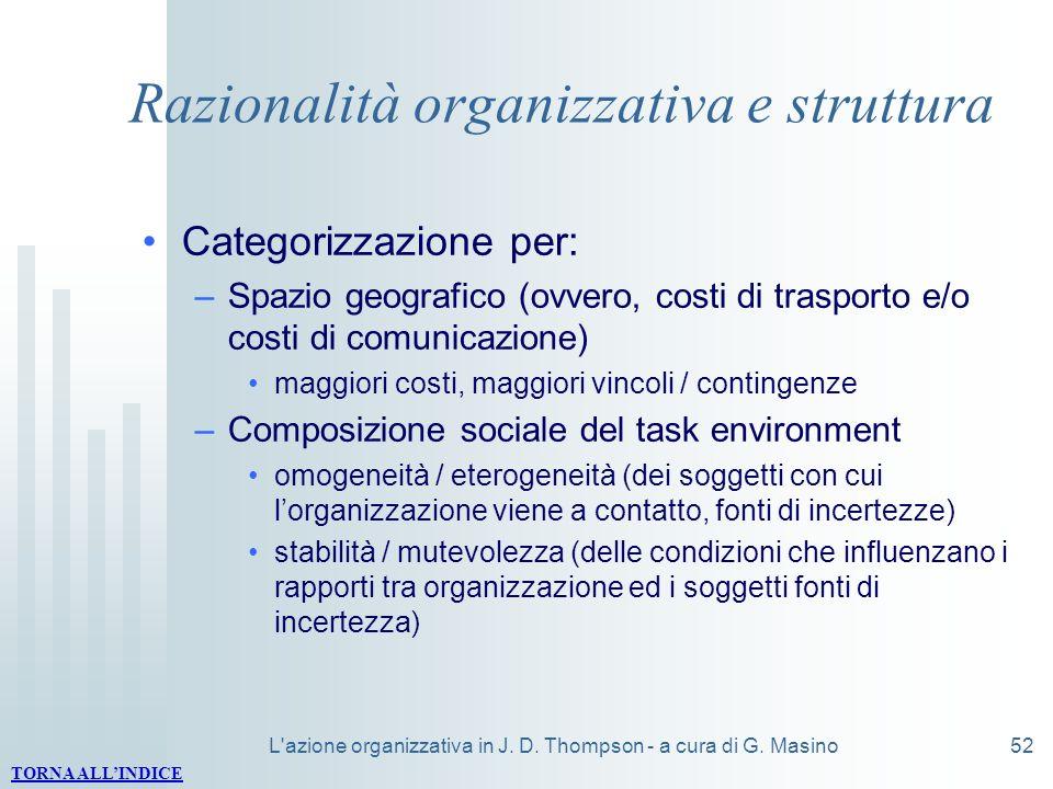 L'azione organizzativa in J. D. Thompson - a cura di G. Masino52 Razionalità organizzativa e struttura Categorizzazione per: –Spazio geografico (ovver