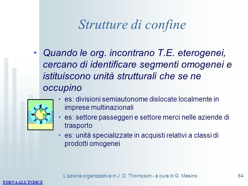 L'azione organizzativa in J. D. Thompson - a cura di G. Masino54 Strutture di confine Quando le org. incontrano T.E. eterogenei, cercano di identifica