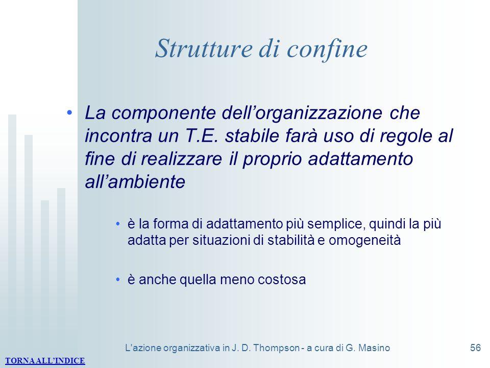 L'azione organizzativa in J. D. Thompson - a cura di G. Masino56 Strutture di confine La componente dellorganizzazione che incontra un T.E. stabile fa