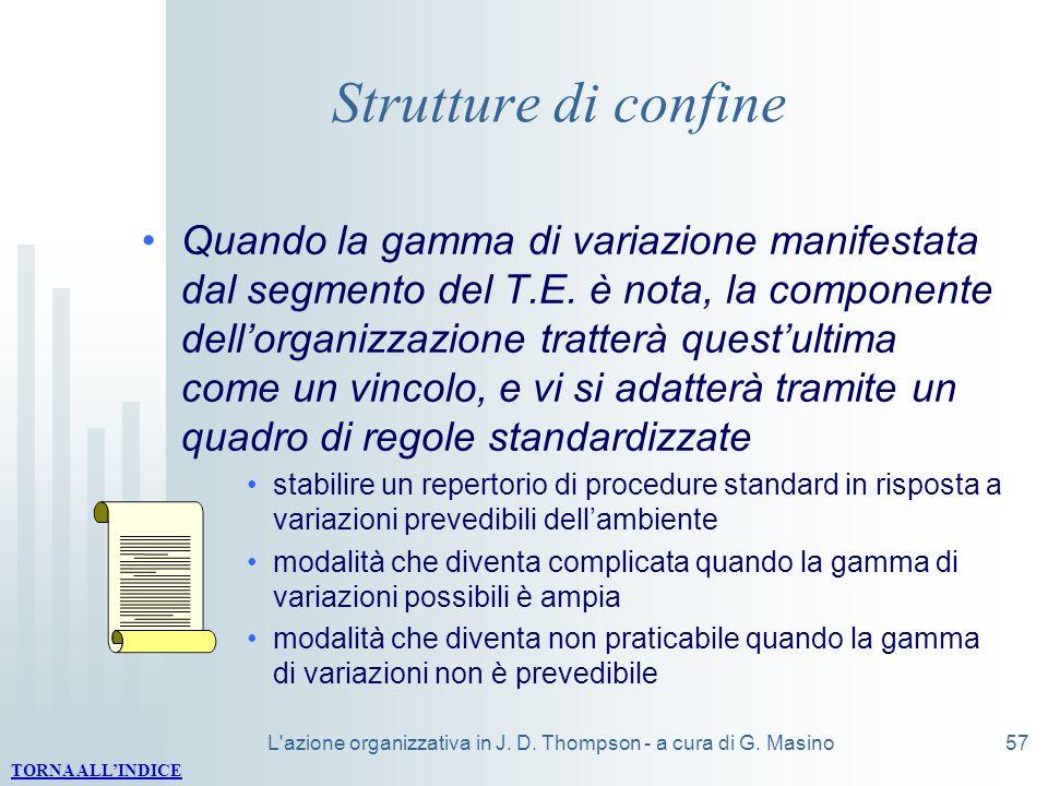 L'azione organizzativa in J. D. Thompson - a cura di G. Masino57 Strutture di confine Quando la gamma di variazione manifestata dal segmento del T.E.