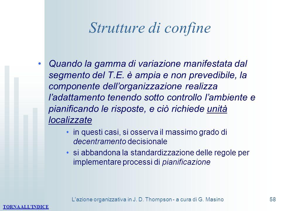 L'azione organizzativa in J. D. Thompson - a cura di G. Masino58 Strutture di confine Quando la gamma di variazione manifestata dal segmento del T.E.