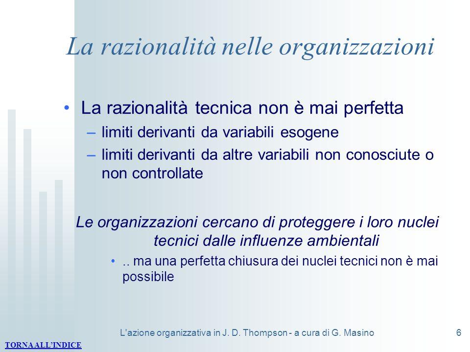 L'azione organizzativa in J. D. Thompson - a cura di G. Masino6 La razionalità nelle organizzazioni La razionalità tecnica non è mai perfetta –limiti
