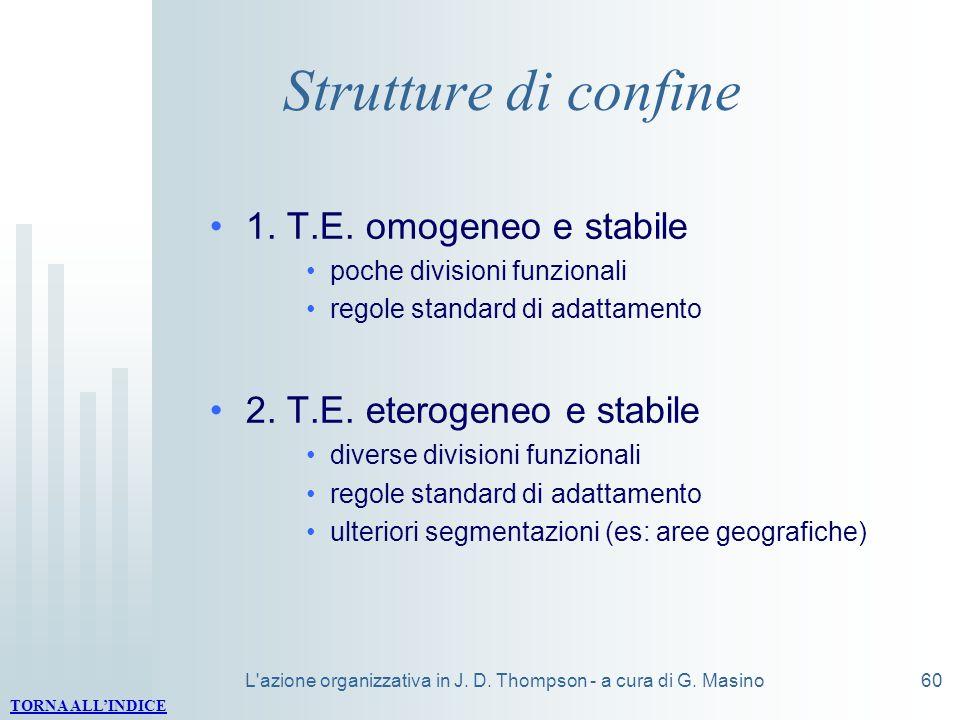 L'azione organizzativa in J. D. Thompson - a cura di G. Masino60 Strutture di confine 1. T.E. omogeneo e stabile poche divisioni funzionali regole sta