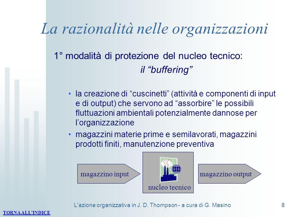 L'azione organizzativa in J. D. Thompson - a cura di G. Masino8 La razionalità nelle organizzazioni 1° modalità di protezione del nucleo tecnico: il b