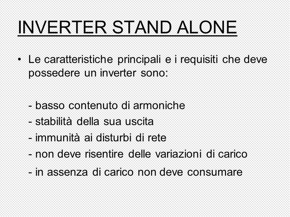 INVERTER STAND ALONE Le caratteristiche principali e i requisiti che deve possedere un inverter sono: - basso contenuto di armoniche - stabilità della
