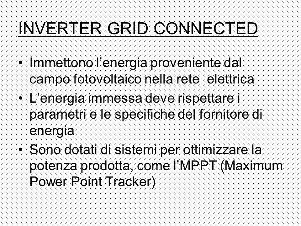 INVERTER GRID CONNECTED Immettono lenergia proveniente dal campo fotovoltaico nella rete elettrica Lenergia immessa deve rispettare i parametri e le s