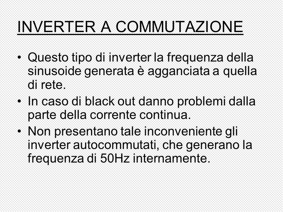 INVERTER A COMMUTAZIONE Questo tipo di inverter la frequenza della sinusoide generata è agganciata a quella di rete. In caso di black out danno proble