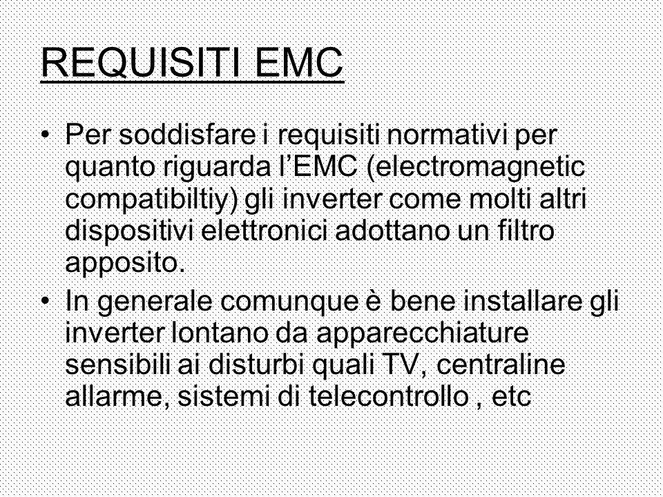 REQUISITI EMC Per soddisfare i requisiti normativi per quanto riguarda lEMC (electromagnetic compatibiltiy) gli inverter come molti altri dispositivi
