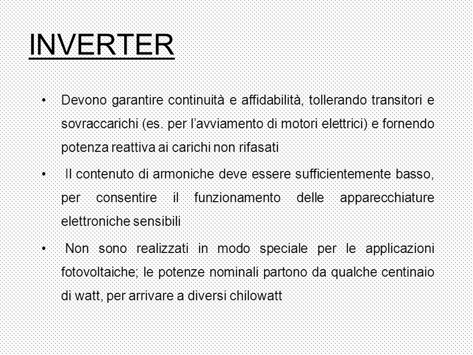 INVERTER Devono garantire continuità e affidabilità, tollerando transitori e sovraccarichi (es. per lavviamento di motori elettrici) e fornendo potenz