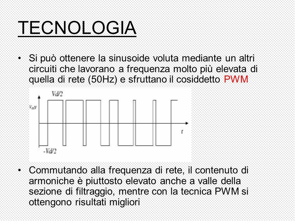 TECNOLOGIA Si può ottenere la sinusoide voluta mediante un altri circuiti che lavorano a frequenza molto più elevata di quella di rete (50Hz) e sfrutt