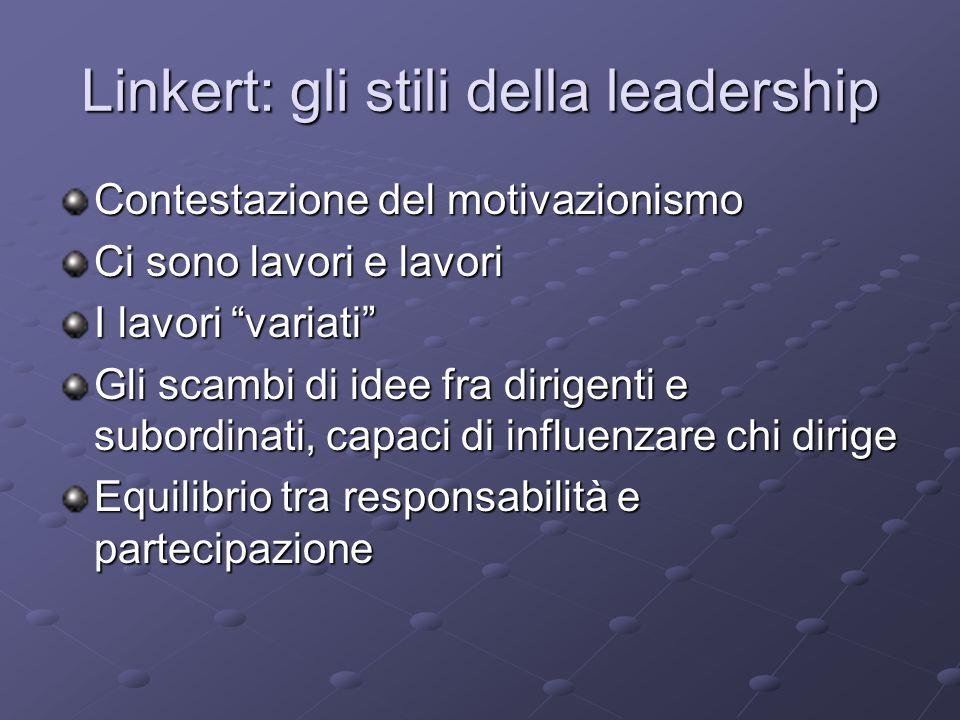 Linkert: gli stili della leadership Contestazione del motivazionismo Ci sono lavori e lavori I lavori variati Gli scambi di idee fra dirigenti e subor