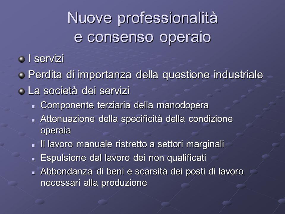 Nuove professionalità e consenso operaio I servizi Perdita di importanza della questione industriale La società dei servizi Componente terziaria della