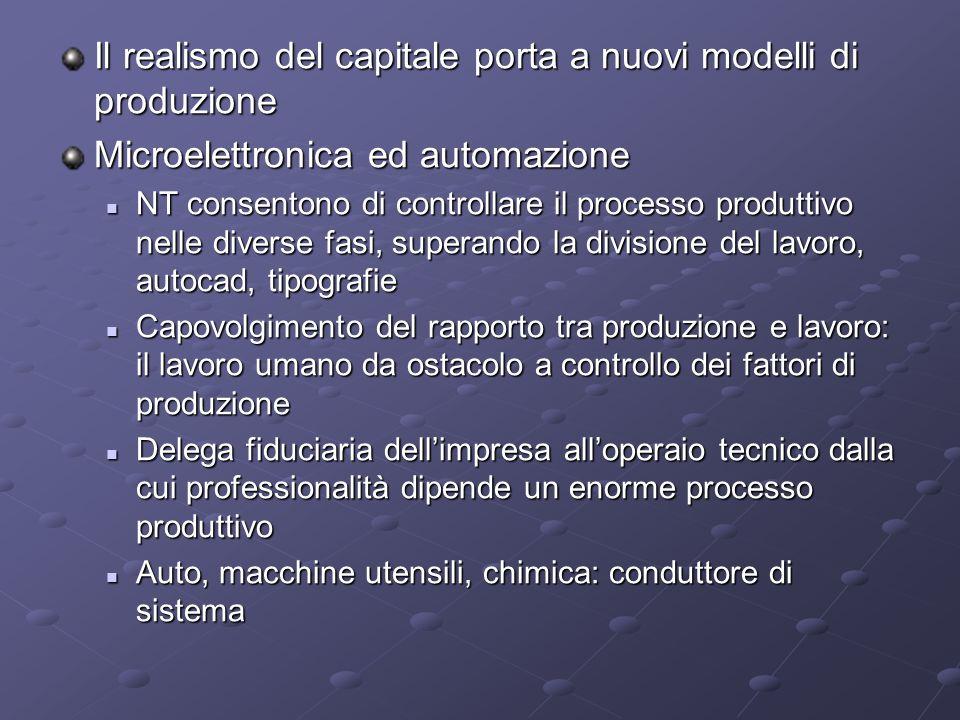 Il realismo del capitale porta a nuovi modelli di produzione Microelettronica ed automazione NT consentono di controllare il processo produttivo nelle