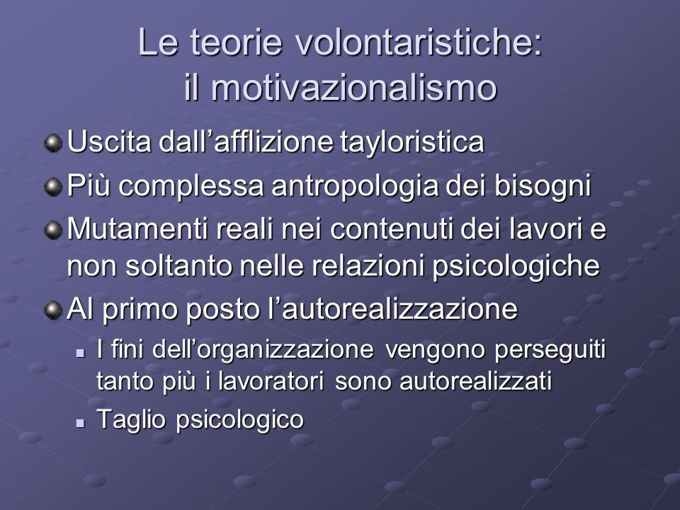 Le teorie volontaristiche: il motivazionalismo Uscita dallafflizione tayloristica Più complessa antropologia dei bisogni Mutamenti reali nei contenuti