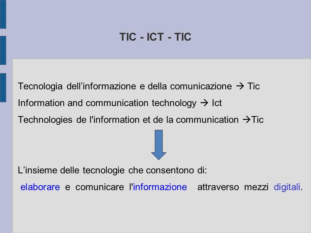 TIC - ICT - TIC Tecnologia dellinformazione e della comunicazione Tic Information and communication technology Ict Technologies de l information et de la communication Tic Linsieme delle tecnologie che consentono di: elaborare e comunicare l informazione attraverso mezzi digitali.