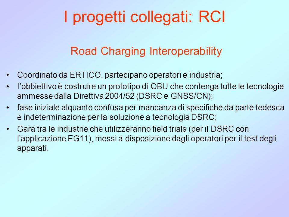 I progetti collegati: RCI Road Charging Interoperability Coordinato da ERTICO, partecipano operatori e industria; Iobbiettivo è costruire un prototipo di OBU che contenga tutte le tecnologie ammesse dalla Direttiva 2004/52 (DSRC e GNSS/CN); fase iniziale alquanto confusa per mancanza di specifiche da parte tedesca e indeterminazione per la soluzione a tecnologia DSRC; Gara tra le industrie che utilizzeranno field trials (per il DSRC con lapplicazione EG11), messi a disposizione dagli operatori per il test degli apparati.