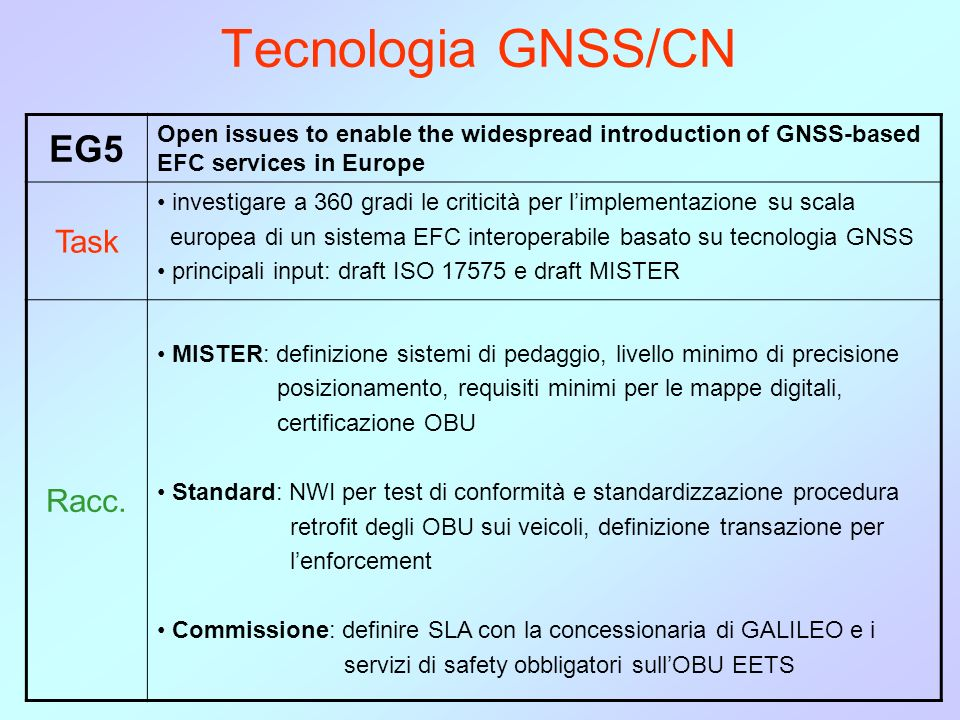 Tecnologia GNSS/CN EG5 Open issues to enable the widespread introduction of GNSS-based EFC services in Europe Task investigare a 360 gradi le criticit