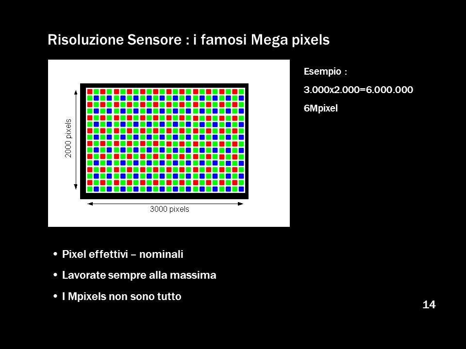 14 Risoluzione Sensore : i famosi Mega pixels Pixel effettivi – nominali Lavorate sempre alla massima I Mpixels non sono tutto Esempio : 3.000x2.000=6
