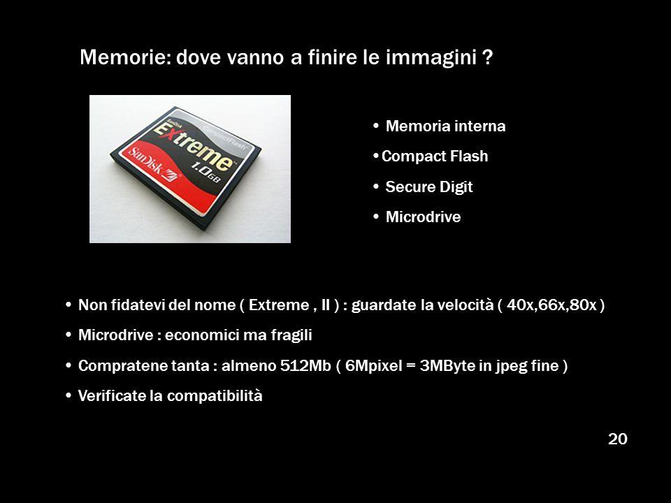 20 Memorie: dove vanno a finire le immagini ? Memoria interna Compact Flash Secure Digit Microdrive Non fidatevi del nome ( Extreme, II ) : guardate l