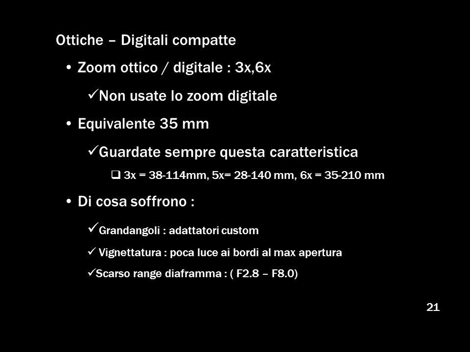 21 Ottiche – Digitali compatte Zoom ottico / digitale : 3x,6x Non usate lo zoom digitale Equivalente 35 mm Guardate sempre questa caratteristica 3x =