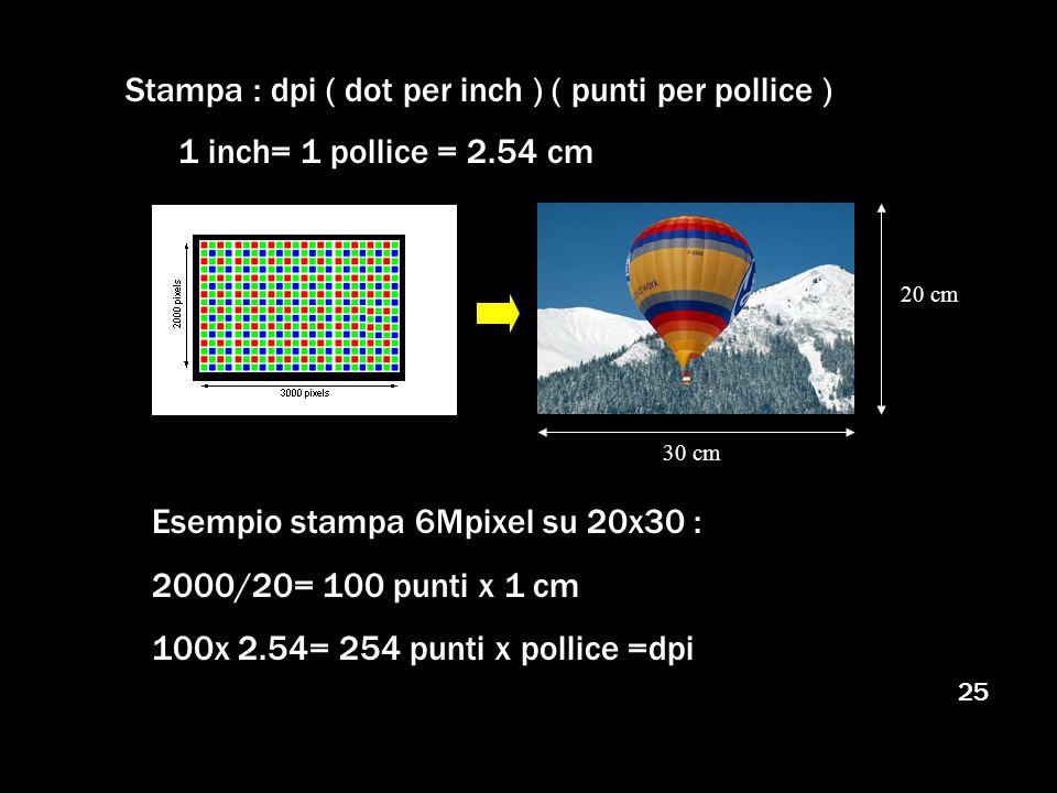 25 Stampa : dpi ( dot per inch ) ( punti per pollice ) 1 inch= 1 pollice = 2.54 cm 20 cm 30 cm Esempio stampa 6Mpixel su 20x30 : 2000/20= 100 punti x