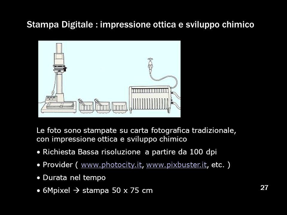 27 Stampa Digitale : impressione ottica e sviluppo chimico Le foto sono stampate su carta fotografica tradizionale, con impressione ottica e sviluppo