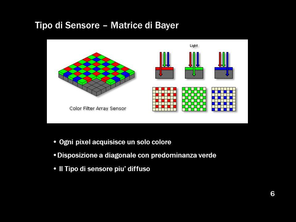 6 Tipo di Sensore – Matrice di Bayer Ogni pixel acquisisce un solo colore Disposizione a diagonale con predominanza verde Il Tipo di sensore piu diffu