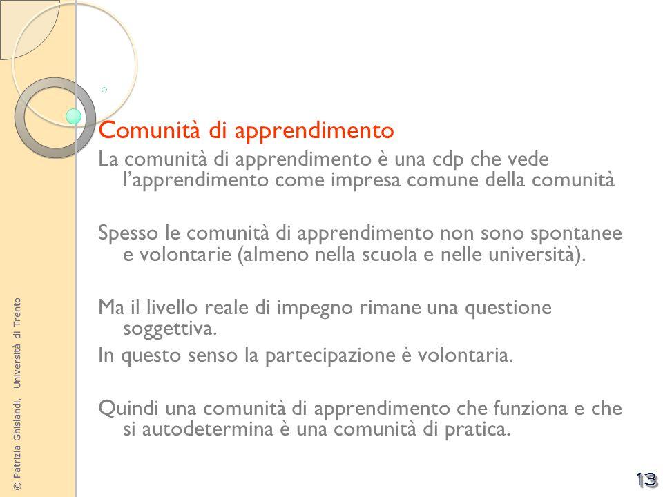 © Patrizia Ghislandi, Università di Trento 13 Comunità di apprendimento La comunità di apprendimento è una cdp che vede lapprendimento come impresa co