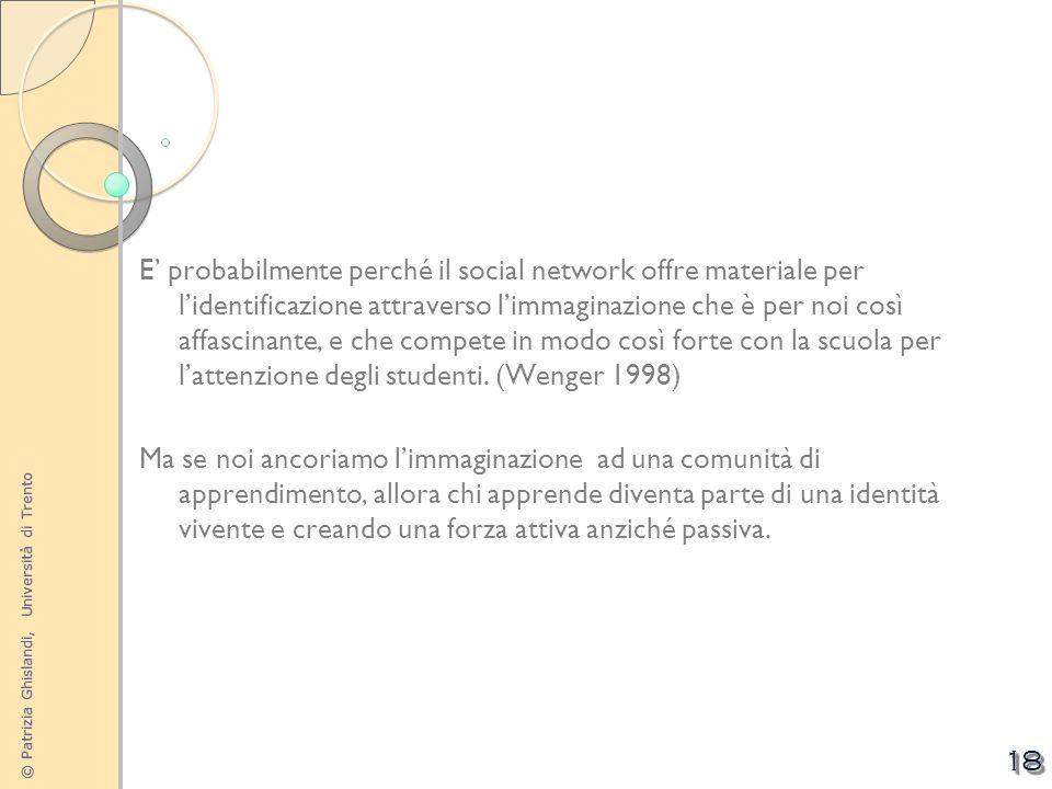 © Patrizia Ghislandi, Università di Trento 18 E probabilmente perché il social network offre materiale per lidentificazione attraverso limmaginazione