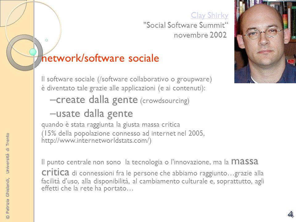 © Patrizia Ghislandi, Università di Trento 4 network/software sociale Il software sociale (/software collaborativo o groupware) è diventato tale grazi