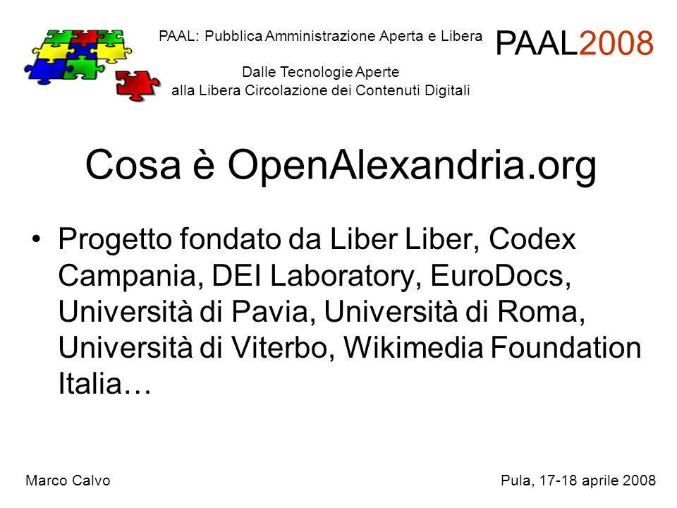 Cosa è OpenAlexandria.org Progetto fondato da Liber Liber, Codex Campania, DEI Laboratory, EuroDocs, Università di Pavia, Università di Roma, Universi
