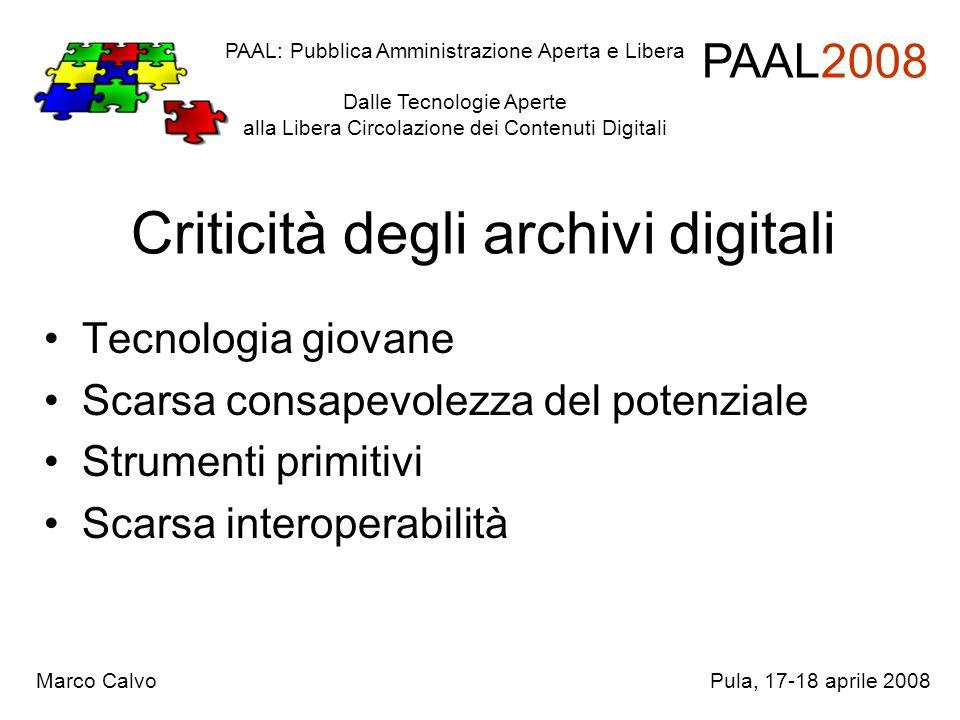 Criticità degli archivi digitali Tecnologia giovane Scarsa consapevolezza del potenziale Strumenti primitivi Scarsa interoperabilità PAAL: Pubblica Am